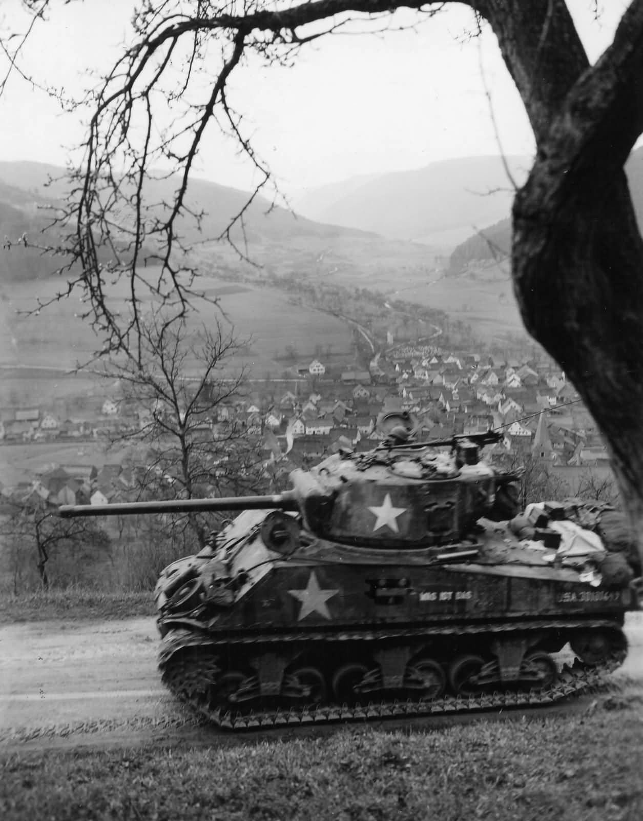 12th_Armored_Division_M4A3_Sherman_in_Schneeburg_Germany_19451