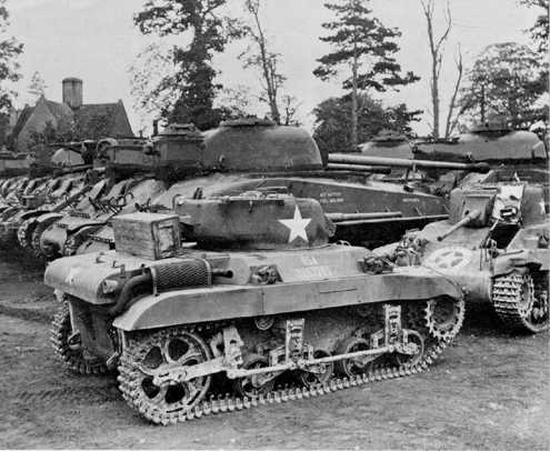 The only known shot of the US Firefly tanks, also in shot, M22 locust airborne tanks