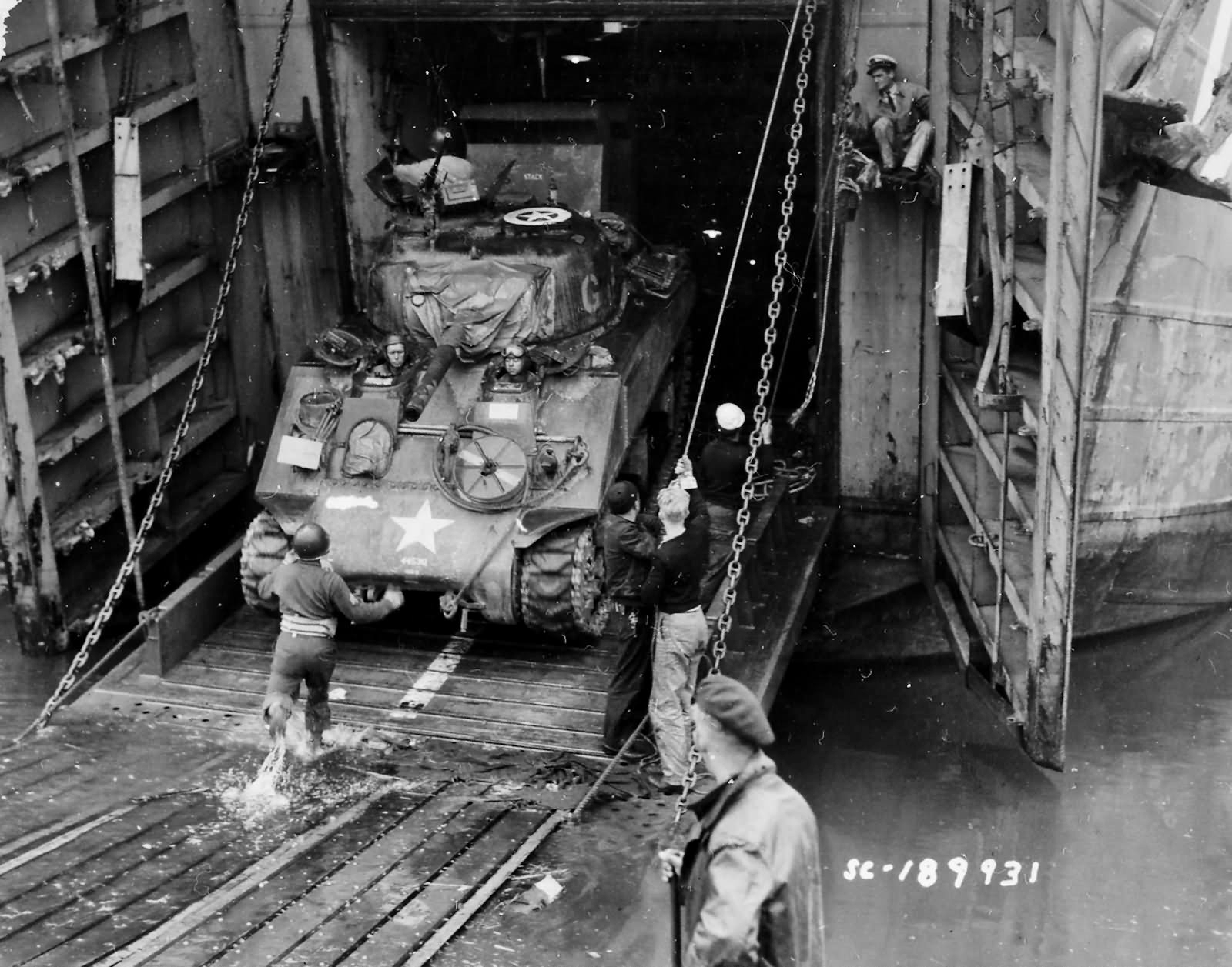 2nd_Armored_Division_M4_Sherman_Debarks_LST_Normandy_June_44