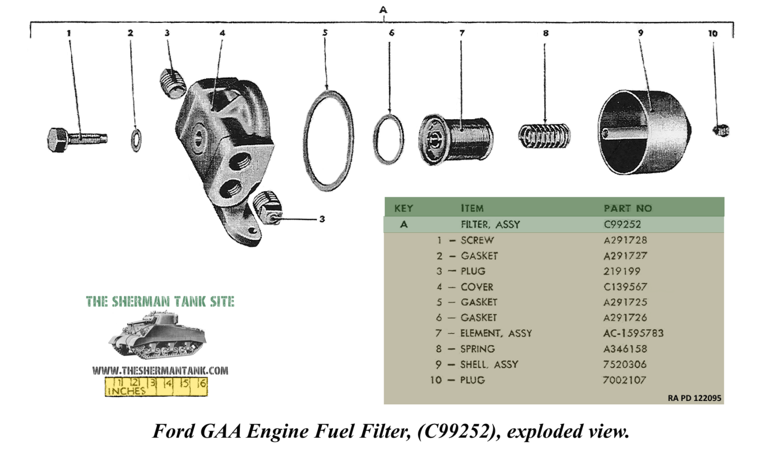 Engine-fuel-filter-c99252-exploded-view-