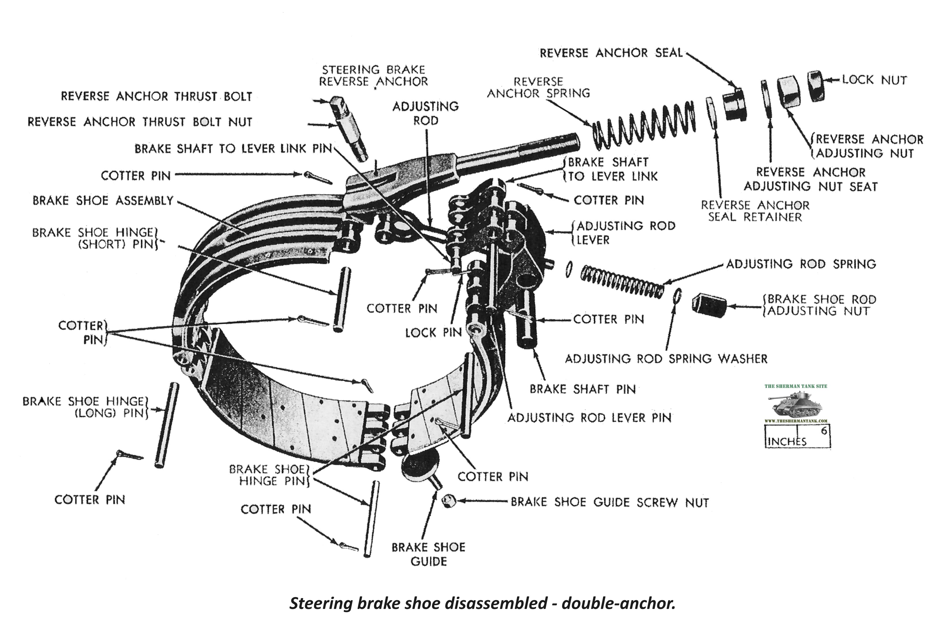 F252 Steering brake shoe disassembled double anchor improved 7 15 flat sherman tank site post 75, from the army motors archive your m4