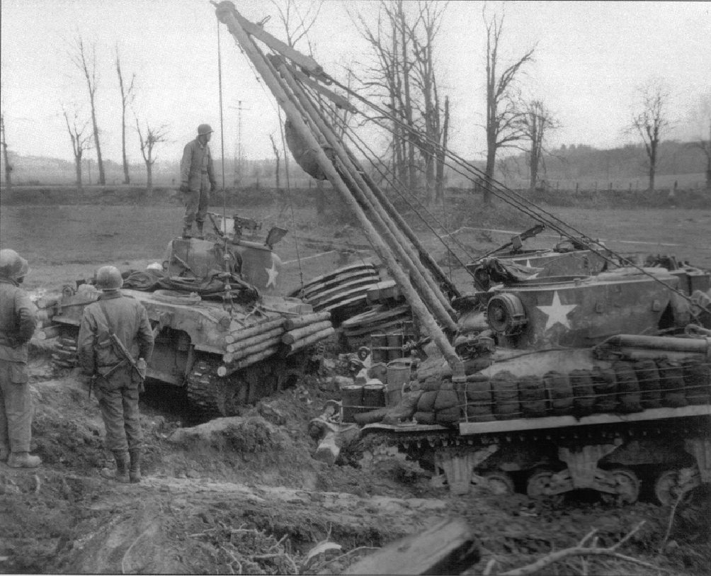M32 19dec 1944 recovering mine rolling tank on German Frontier more recovery help