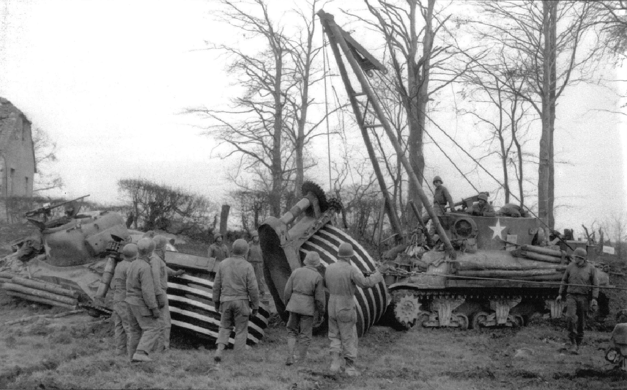 M32 19dec 1944 recovering mine rolling tank on German Frontier